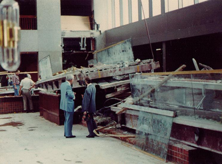 Hyatt's atrium after collapse
