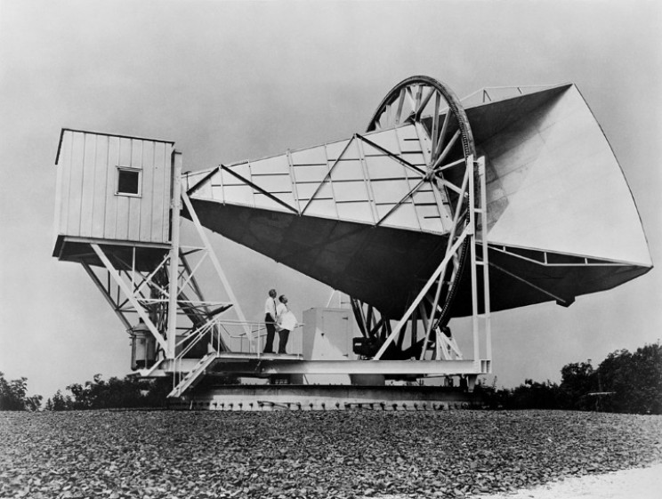 Penzias and Wilson with microwave receiver