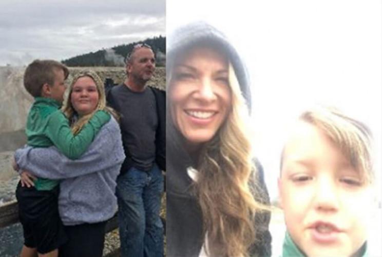 Kids, Lori and Alex at Yellowstone