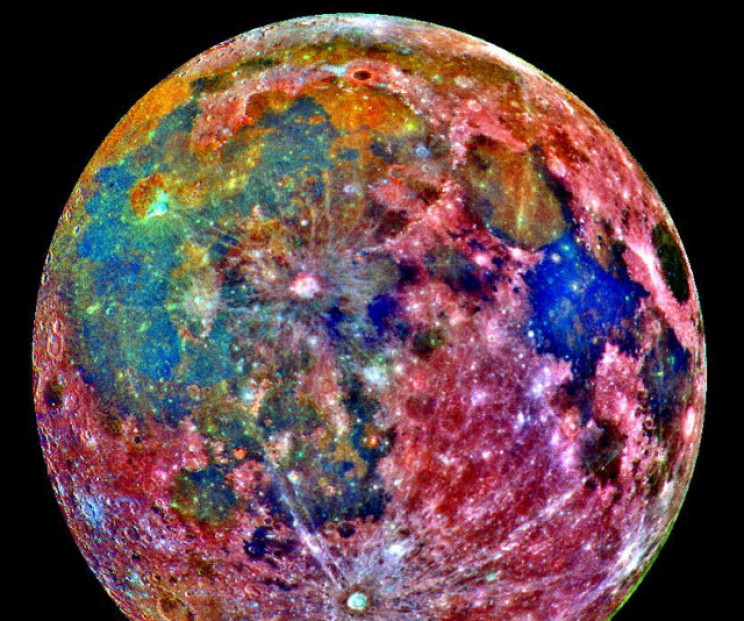 False-color image of the Moon