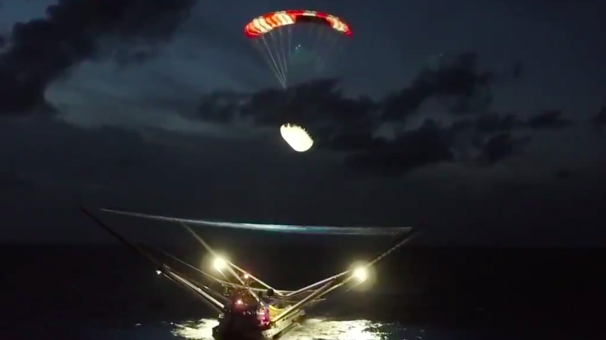 Watch SpaceX Catch Part of the Falcon 9 Rocket Falling from Space With a Droneship