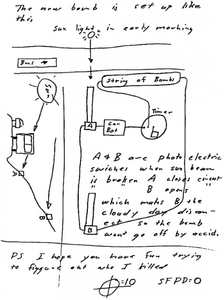 Zodiac's bomb schematic