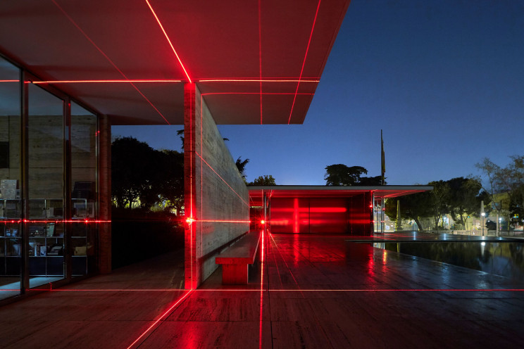 Light and Sound Geometric Installations Highlight Stunning Mies Van Der Rohe Architecture
