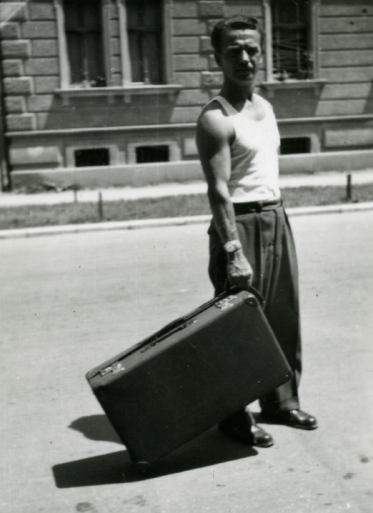 Alfred Krupa and wheeled suitcase circa 1954