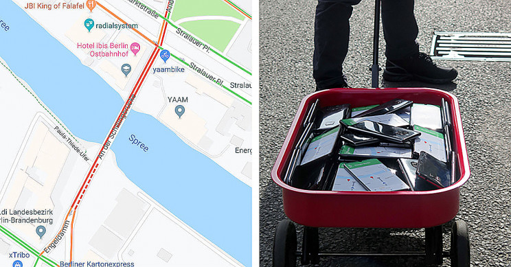 "Man Uses 99 Phones and a Handcart to Create a ""Virtual Traffic Jam"" on Google Maps"