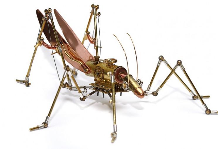 metal sculptures grasshopper