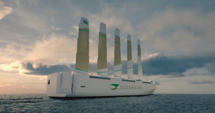 Swedish Consortium Unveils Wind-Powered Car Carrier With Towering Wings