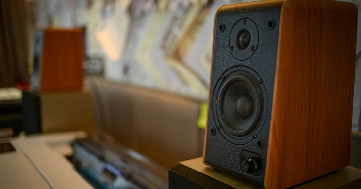 A Pair Of Speakers In A Music Studio