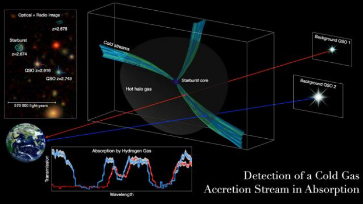 Study Shows Cold Gas Pipelines Fed Early Massive Galaxies