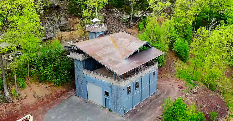 Guy Builds a Modern Castle out of Shipping Containers