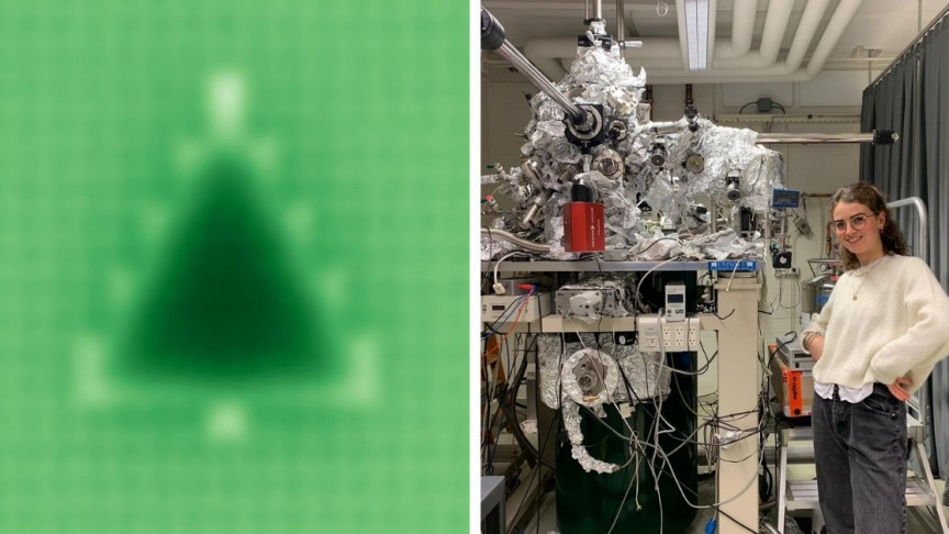 A physics student builds the smallest Christmas tree ever