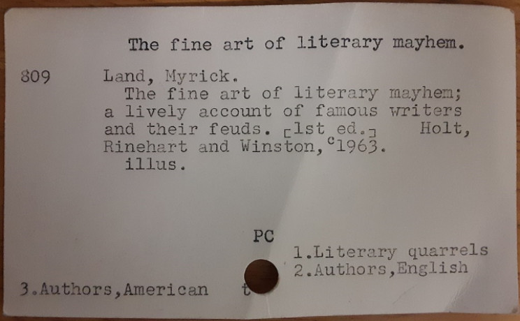 Library index card