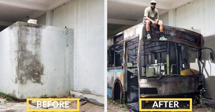 This Street Artist Transforms a Block Wall into a Bus