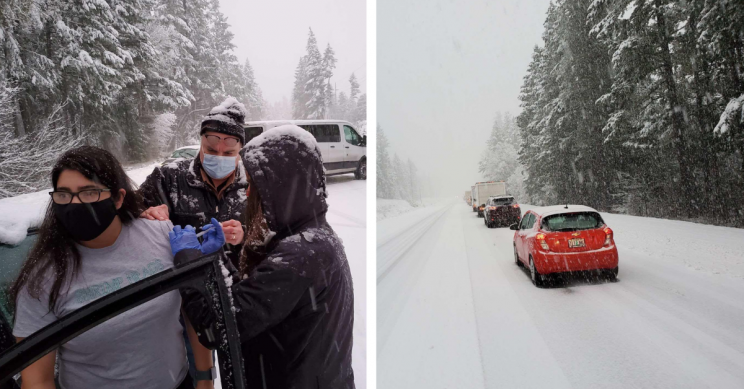 Healthcare Workers Caught In Snowstorm Vaccinate Fellow Stranded Drivers