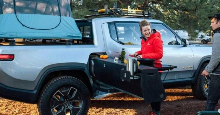 Rivian Introduces a Pull-Out Kitchen for its R1T Electric Truck