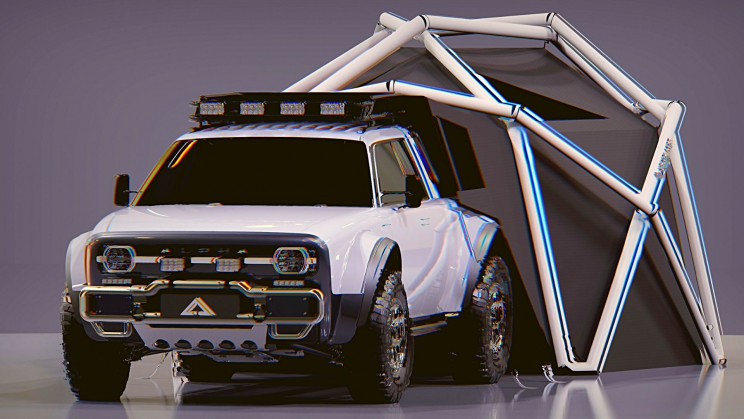 A New All-Electric Truck Comes With a Geodesic Tent
