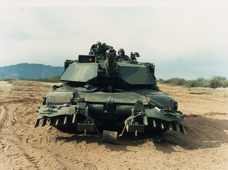 U.S. Army M1A1 Abrams tank with mine plow from 1995 or earlier