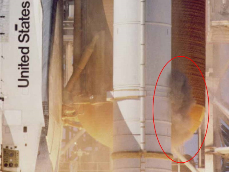 Smoke escaping from the SRB at launch
