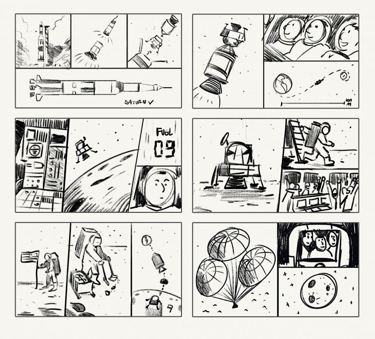 Storyboard of Apollo trip to the moon