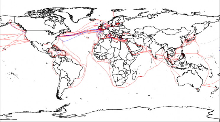 2007 map of undersea cables