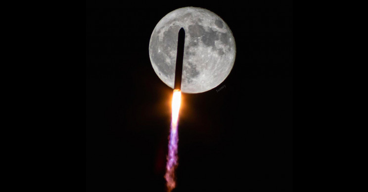 Superb Imagery of NASA Rocket Flying Over the Moon Captured for First Time in Decades