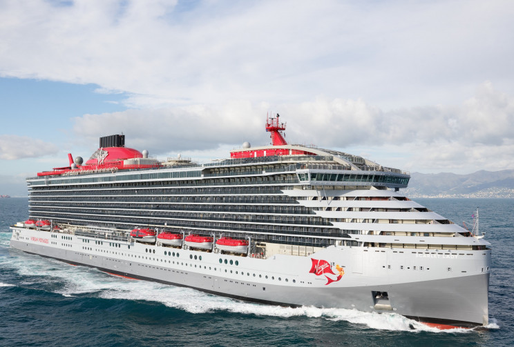 Richard Branson Celebrates Arrival of Virgin Voyages' First Ship: Scarlet Lady