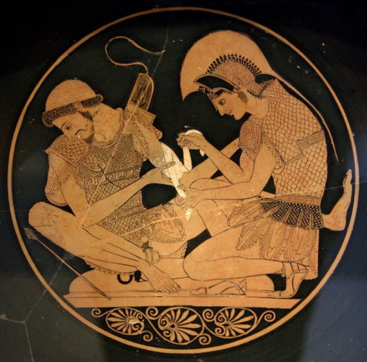 Achilles bandaging Patroclus