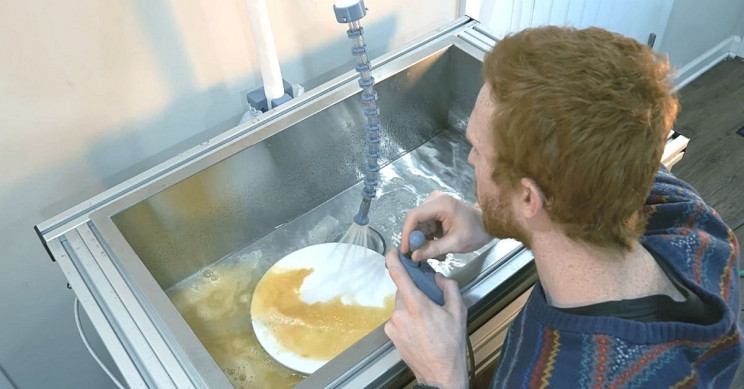 Guy Invents Robotic Sink to Help with Dishes