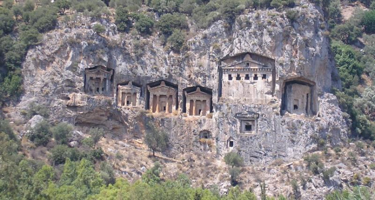 ancient cave structures lycian tombs