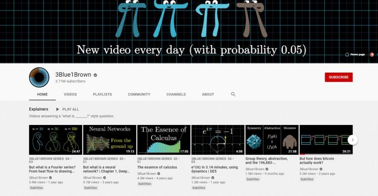 best youtube math channels 3blue1brown