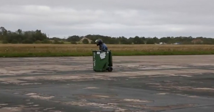 Man Smashes World Record for Fastest Garbage Bin in UK, 43 MPH