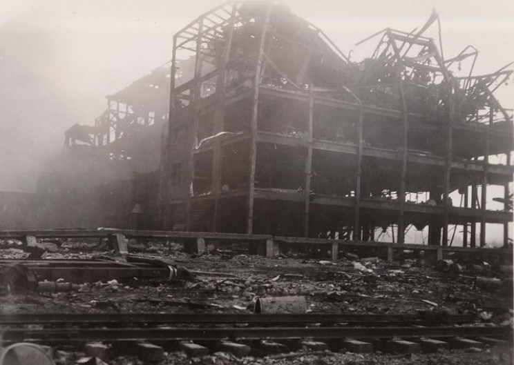 Destroyed rubber factory