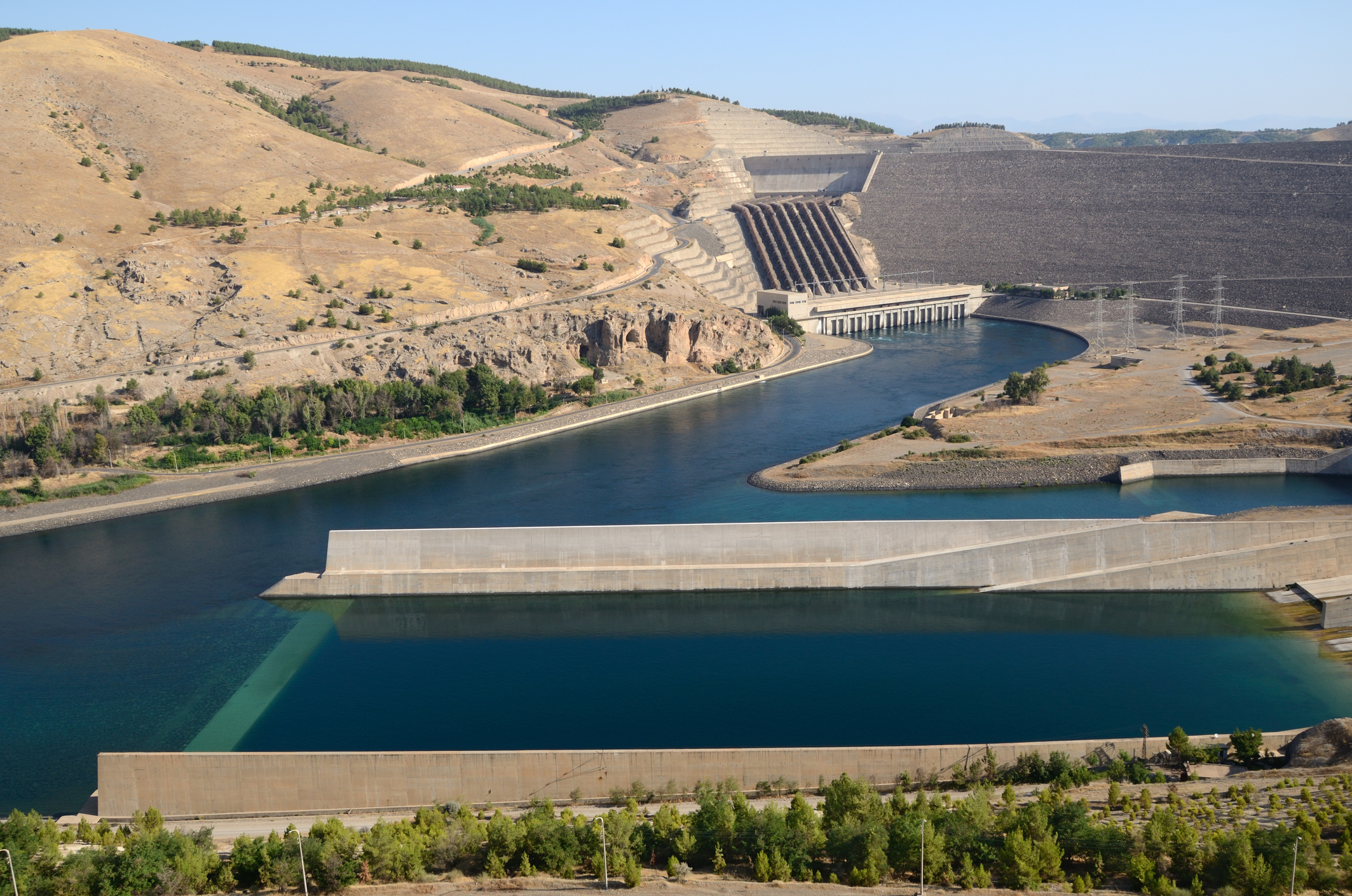 Panoramic view of Ataturk dam in Turkey