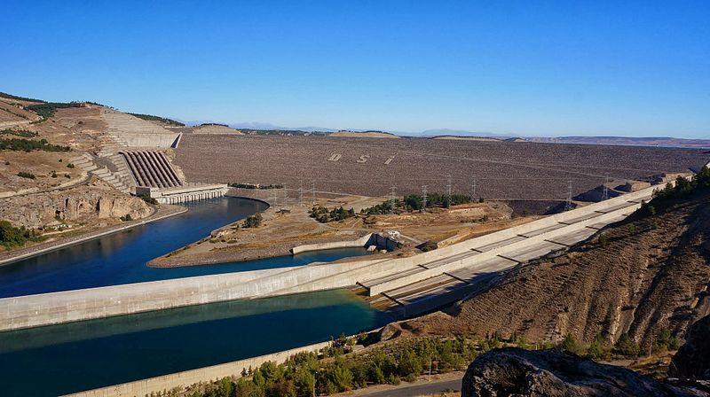 Panoramic view of Ataturk dam in Turkey