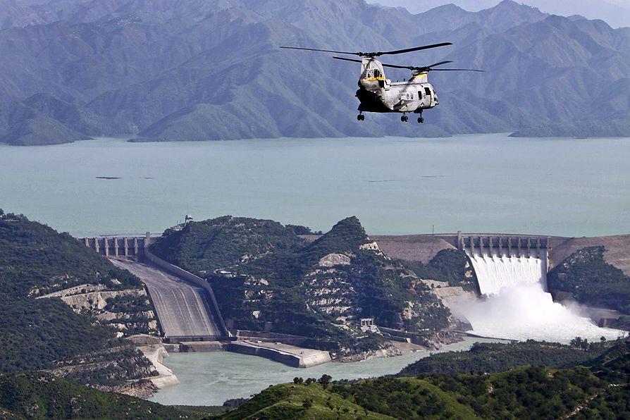 Tarbela dam releasing a large volume of water