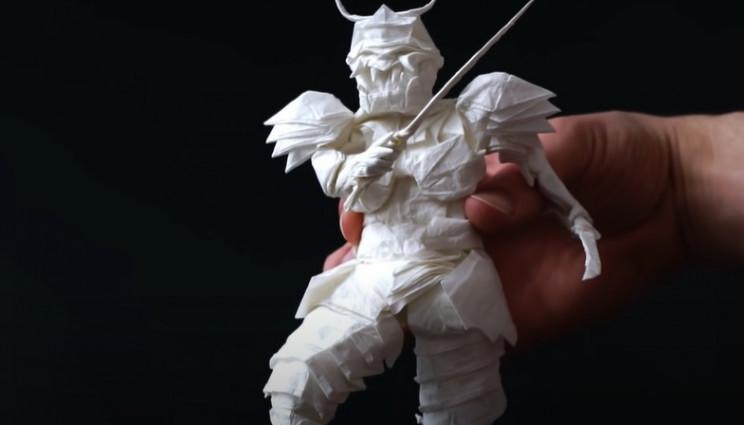 diy origami samurai warrior complete
