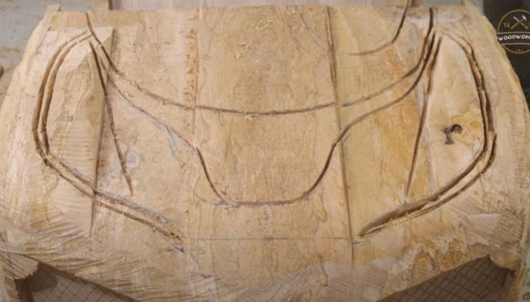 diy carved bugatti bonnet details