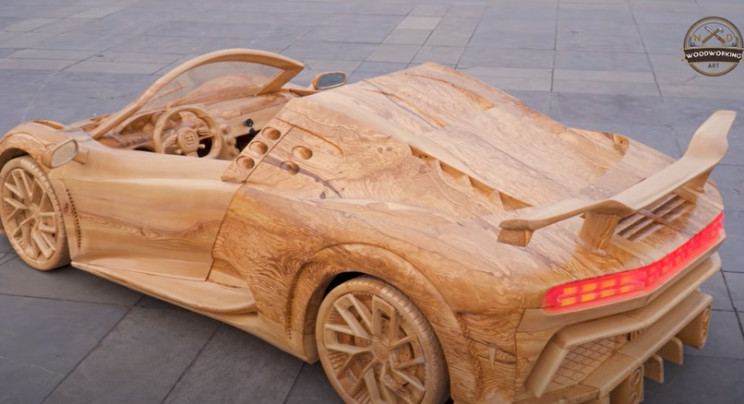 diy carved wooden Bugatti completed