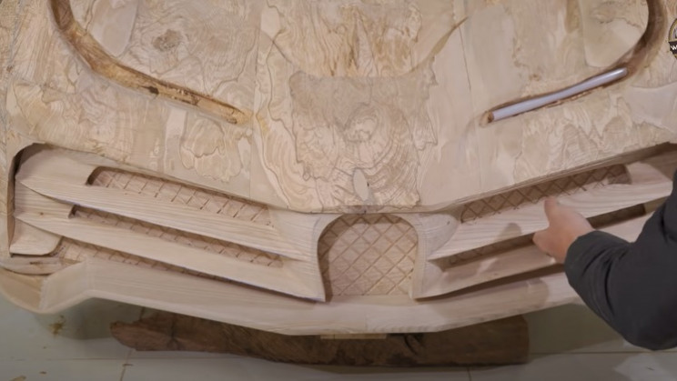 diy carved bugatti front grill decoration