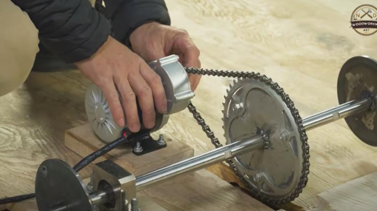 diy wood carved bugatti mount motor