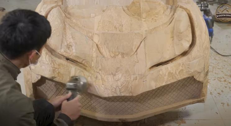 diy carved bugatti bonnet power tools