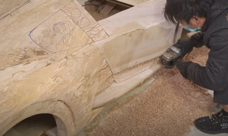 diy carved Bugatti side details