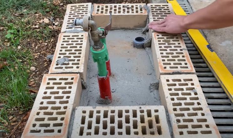 diy sink brick laying