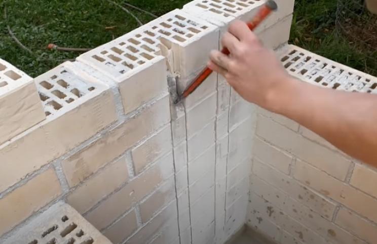 diy sink recessed bricks