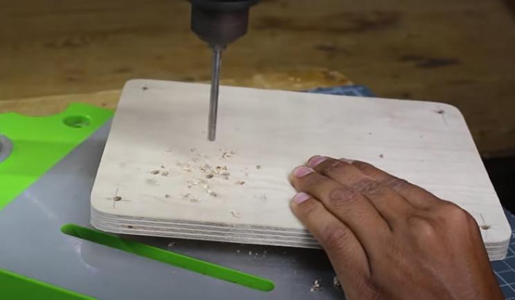 diy yarn winder drill holes