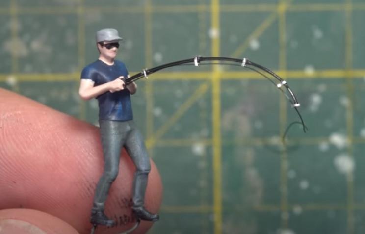 diy fisherman diorama with rod