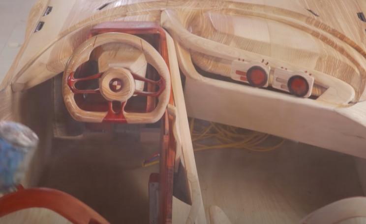 diy wooden BMW 328 spray interior