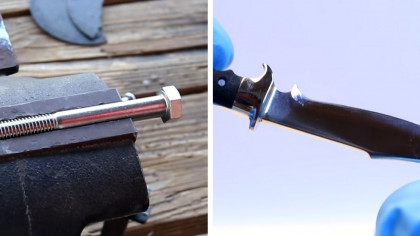 This Guy Turns a Stainless Steel Bolt into a Hunting Knife