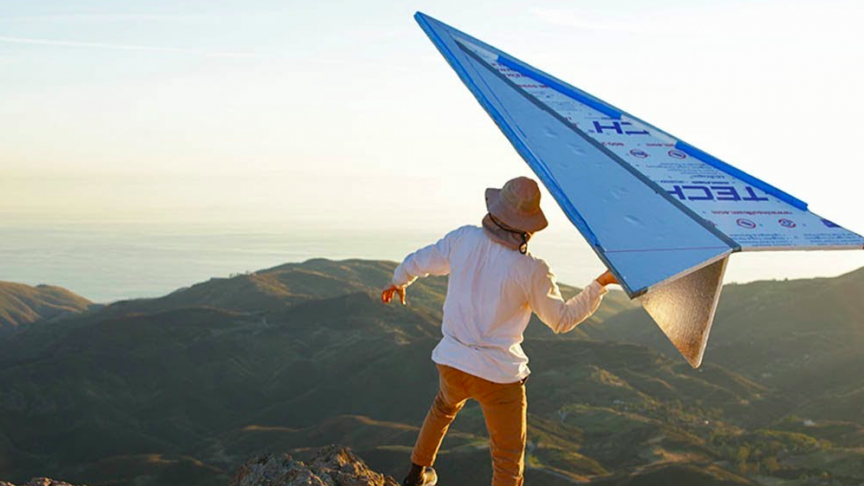 YouTuber Builds a Giant Foam Paper Airplane and Tests It Off a Huge Mountain