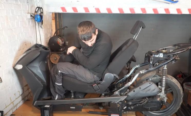 futuristic scooter seat frame